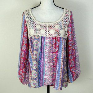 cha cha vente Pink and Cream Top Size L